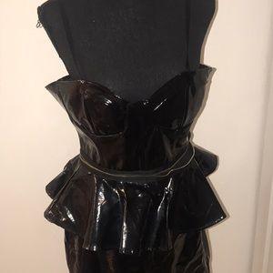 Vintage 2- Piece Black Patent Leather Skirt Set